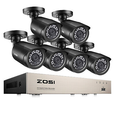 ZOSI H.265+ 8CH 1080N DVR 6 1080P Outdoor Surveillance Security Camera System