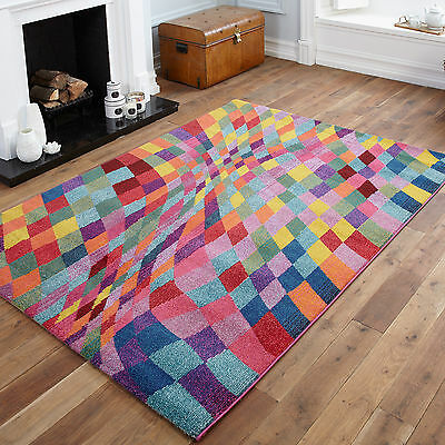 High Quality Small To Large Modern Rugs - Blocks, Pixel Wave Multi Colour Rug