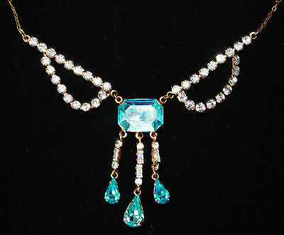 Edwardian blue and clear paste set necklace baguette vintage diamante blue