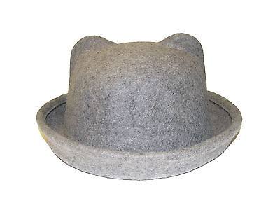Ladies Girls Fashion 100% Wool Felt Round Top Adjustable Bowler Hat With Ears
