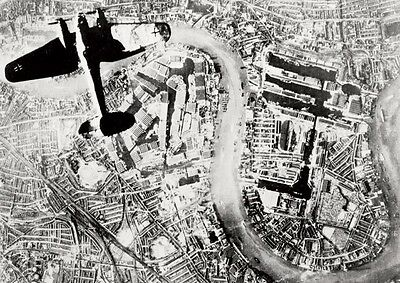 German Heinkel over Docklands London WW ll Poster