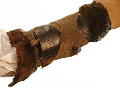 COSPLAY-LARP-SCA-Conan-Warrior-LOTR-Viking-LEATHER ARM BRACERS WITH FAKE FUR