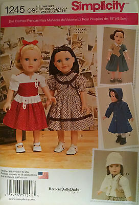"""Simplicity 1245 American Made Sewing Pattern for 18"""" Girl doll clothes"""