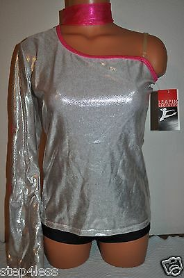 Nwt Leapin' Leotard adult size medium Metallic silver and pink dance top # LLTOP