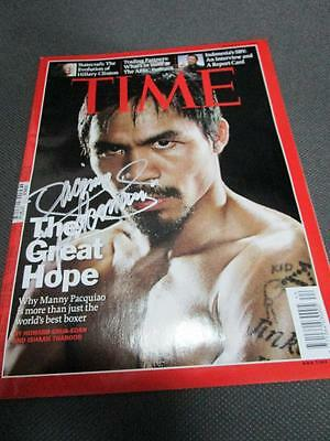 MANNY PACQUIAO TIME magazine silver INK authentic AUTOGRAPH COA 2009 ASIA EXCL