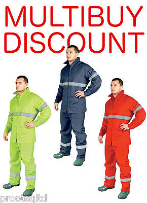 Hi Vis Reflective Waterproof Rainsuit Overall Jacket Trousers Set Safety Hi Viz