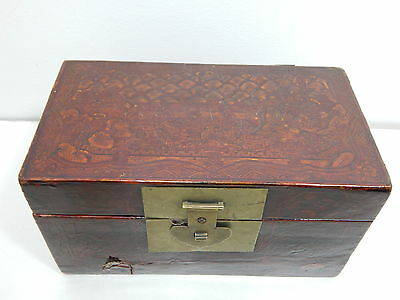 Antique Japanese Edo Period Lacquer Painted Tea Caddy Lock Box