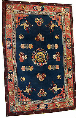 Tapis vintage Art Déco Chinois faits main 196cm x 305cm 1960  Chinese rug