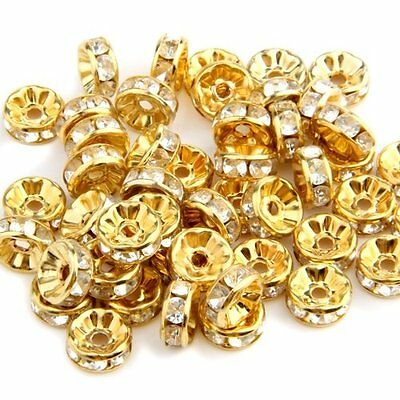 50pcs 8MM Gold Rhinestone Rondelle Round Bead Spacer HOT A+