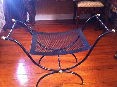 Vintage Neoclassical Style Wrought Iron Brass Curule X Bench Stool