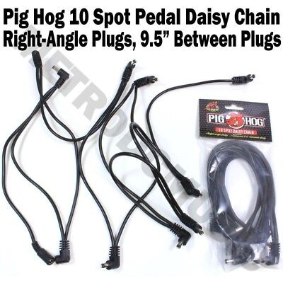 Pig Hog 10 Spot Plug Daisy Chain Power Cable Effect Pedal 9V One Right Angle DC