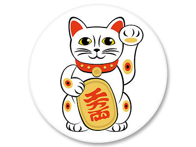 Pin Button Badge Ø38mm Maneki Neko Chat Porte Bonheur Japan Kawaii