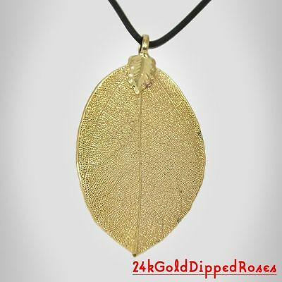 Three 24k Gold Dipped Rose Leaf Pendants (Free Anniversary Gift Wrapping)