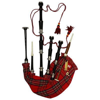 HM Scottish Great Highland Bagpipes Silver Amounts/Rosewood Bagpipe Black Color