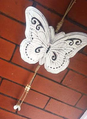 Vintage Shabby Chic Metal White Butterfly Garden Hanging Wall Art Plaque Sign