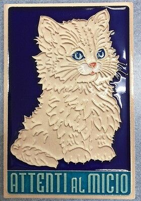 Vietri pottery-Attenti al Micio 6x4 inch wall tile.Made/painted by hand-Italy
