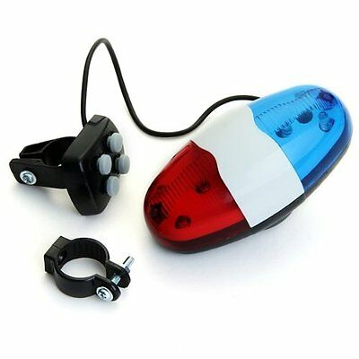6 LED 4 Tone Sounds Bike Bicycle Horn Bell Police Car Light Trumpet M9