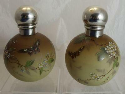 Hm 1886 Webbs Satin Glass Perfume Bottles With Hand Painted Enamel Decoration