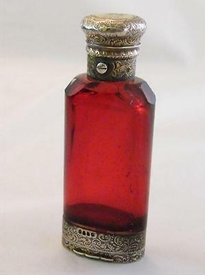 Superb Silver Victorian Ruby Glass Scent Bottle & Vinaigrette Combination