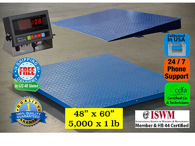"New 5000 lb x 1 lb 5'x4' (60"" x 48"") Floor Scale / Pallet Scale with Ramp"