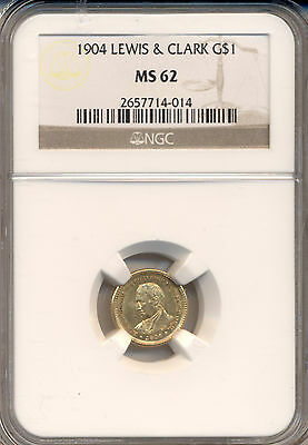 1904 Lewis & Clark $1.00 Gold  Ngc Certified Ms-62 Frosty Deep Lustre