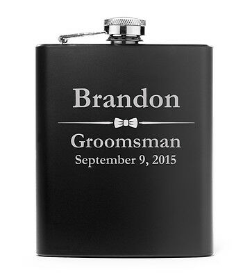 Engraved 7oz Matte Black Stainless Steel Hip Flask PERSONALIZED Wedding Bow Tie