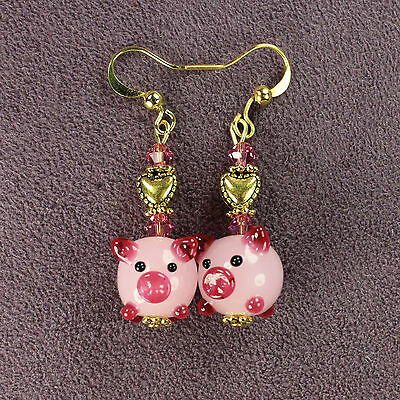 PIG TOTEM EARRINGS Wealth Love Luck Symbol Zodiac Sign Farm Animal Magick Amulet