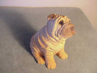 Adorable Vintage 1987 Living Stone Pottery Shar Pei Sitting Wrinkly Dog Figurine