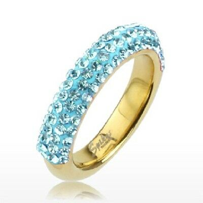 Aqua Blue Multi CZ Ferido Half-round Gold IP over 316L Stainless Steel Band Ring