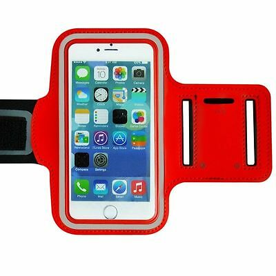 "Universal Adjustable Armband Case Holder For Mobiles UpTo 4.7"" Red (Medium)"
