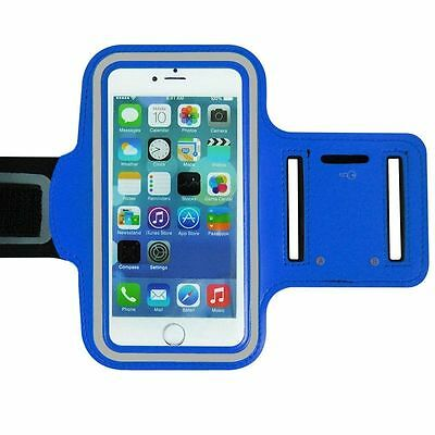 "Universal Adjustable Armband Case Holder For Mobiles UpTo 5.2"" Blue (Large)"