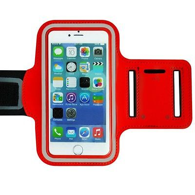 "Universal Adjustable Armband Case Holder For Mobiles UpTo 5.2"" Red (Large)"