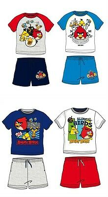 Angry Birds Short & T-Shirt Set Outfit 100% Cotton Age 3-10Y Bnwt Red Blue Grey