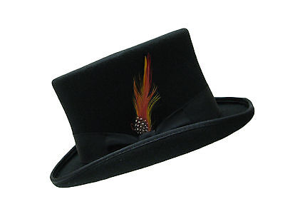 Hand made Black Bow Band 100% Wool Felt Top Hat With Satin Lining And Feather