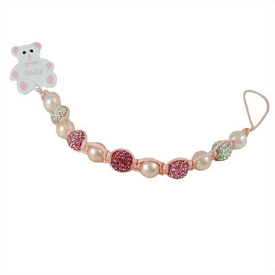 Pink, White Pearls, Crystal Balls Teddy Bear Baby Girls Pacifier Clip Holder