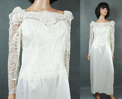 Vintage 80s Wedding Gown Sz M White Long Sleeve Lace Satin Dress Pearl Beads
