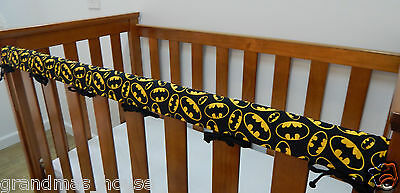 1 x Baby Cot Rail Cover Crib Teething Pad - Batman Logo On Black