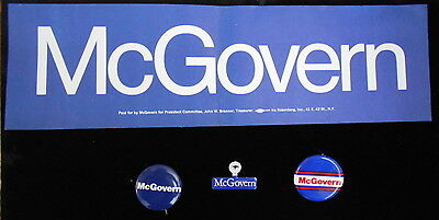 George McGovern 3 political buttons & 1bumper sticker-1972 presidential campaig.