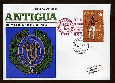 1971 Antigua 4th West Indian Regiment  10 cents First Day Cover