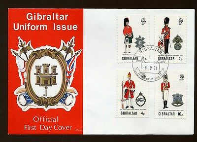 1971 Gibraltar Uniforms Official First Day Cover