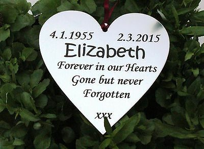 Personalised Memorial Heart Shape Plaque for Indoors or Outdoors