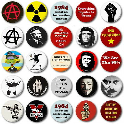 "ANARCHY & PUNK  (Various Designs) - 1"" / 25mm Button Badge - Protest Revolution"