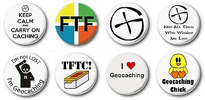 """GEOCACHING  (Various Designs) - 1"""" / 25mm Button Badge - Novelty Cute"""