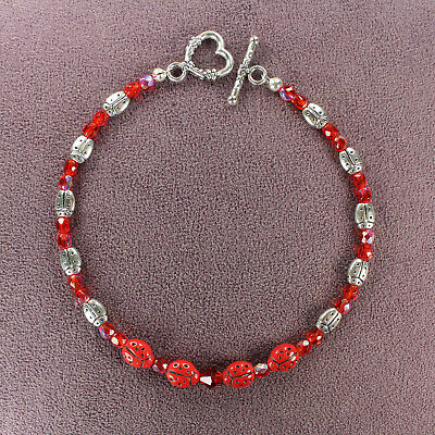 LADYBUG TOTEM ANKLET Insect Animal Magick Symbol Good Luck Love Silver Pagan