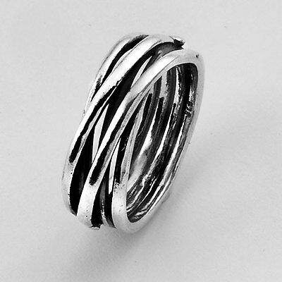 R00596 SHABLOOL ISRAEL Amazing Handcrafted 925 Sterling Silver Ring Sz. 6 7 8 9