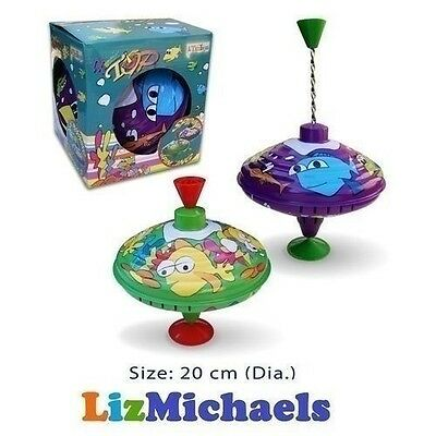 CLASSIC 20cm SPINNING TOP METAL Large Classic Childrens Kids Toy