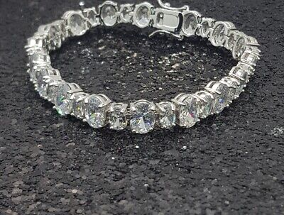 18K White Gold Filled Elegant Italian Smooth Diamond Tennis Bracelet 18cm
