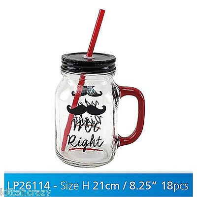 Retro Glass Cocktail Jar With Lid And Straw, Mr Right,  Gift