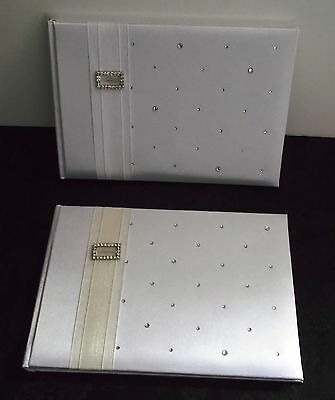 Wedding Guest Book Satin Cover with Diamante