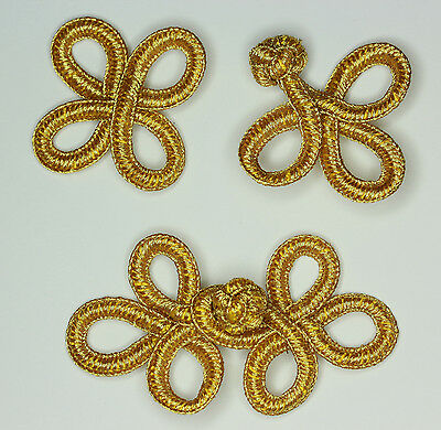 1 Pair Hand Stitch Frog Fastener Closure Button Knots Colour: Metallic Gold #S15